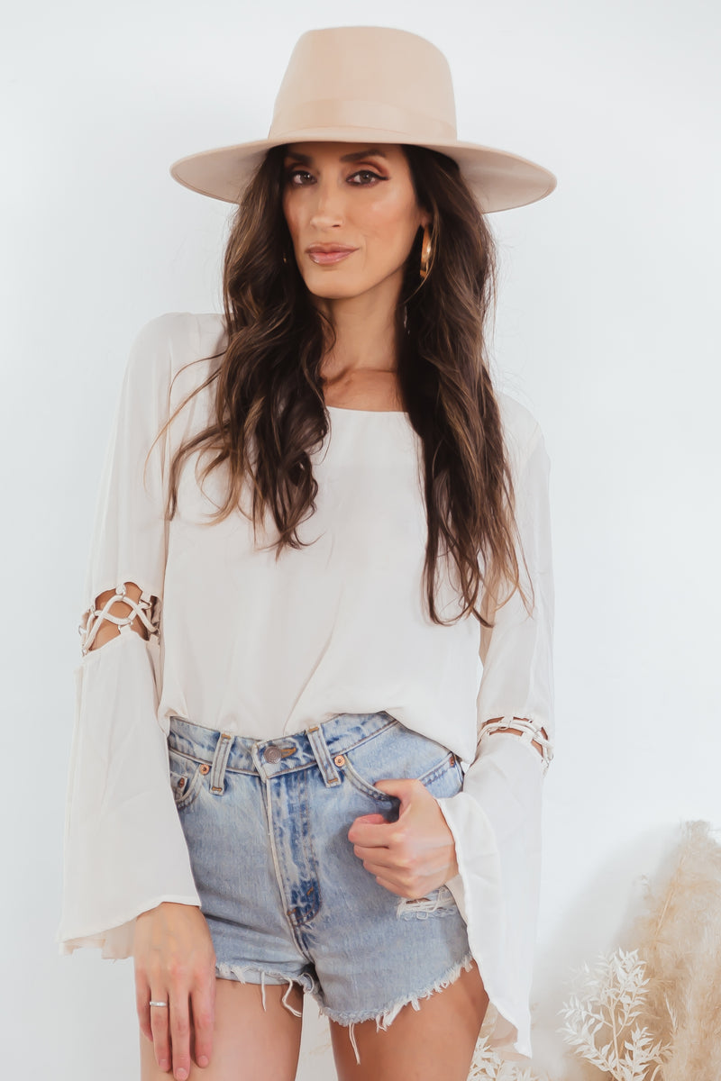 TANGLED SLEEVE CHIFFON BLOUSE - Cream