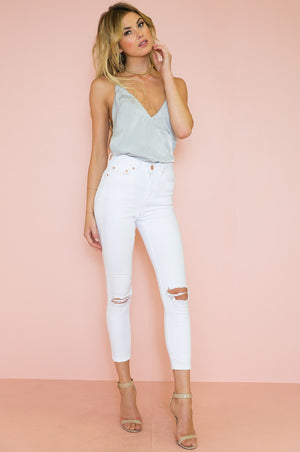 Emma Satin Cami Top - Light Grey - Haute & Rebellious