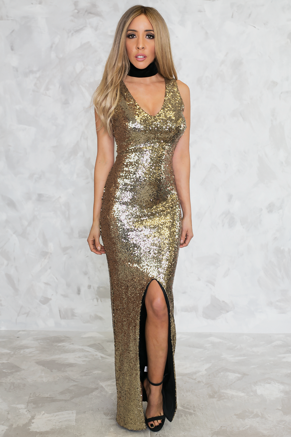Solid Gold Sequin Slit Maxi Dress - Haute & Rebellious