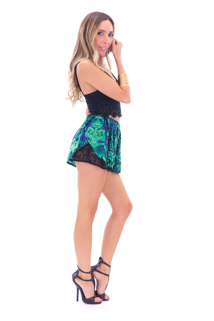 CANTU TROPICAL LACE TRIM SHORTS