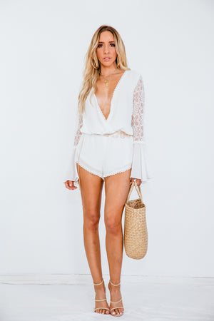 Lace Bell-Sleeve Romper
