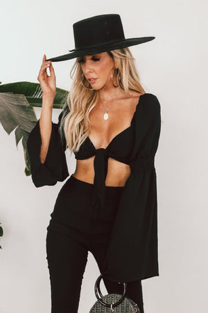 Long Sleeve Crop Top with Tie Front