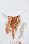Straw Wide Brim Beach Hat - White