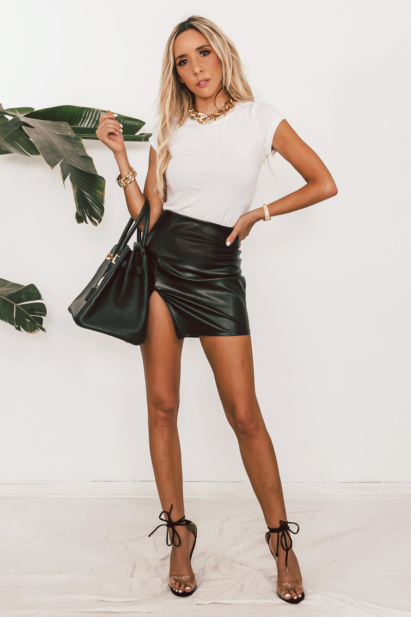 Slit Faux Leather Mini Skirt