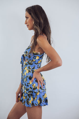 Lemon Print Mini Dress with Tie Detail