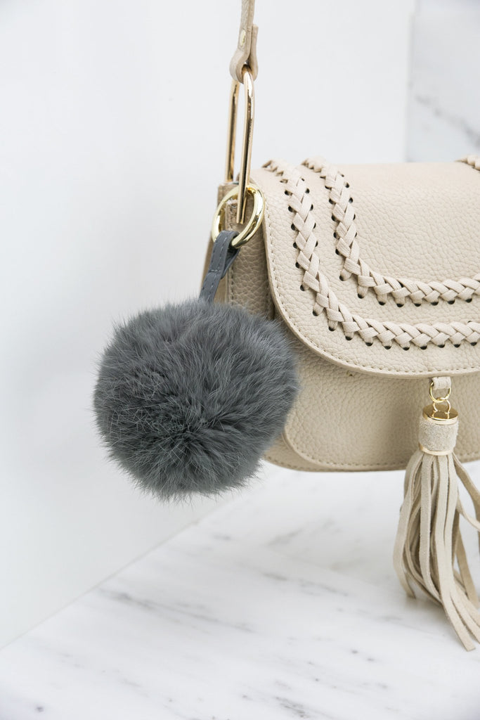 Fur Pom-Pom Key Chain - Grey