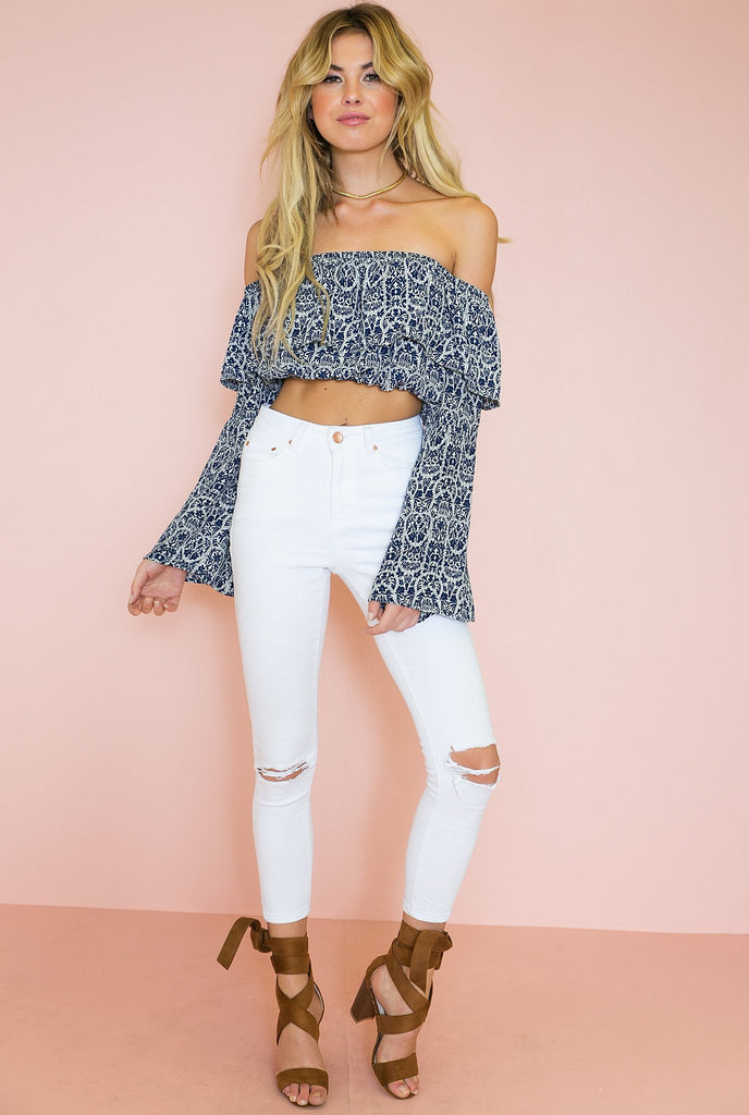 Blue Flower Off The Shoulder Top