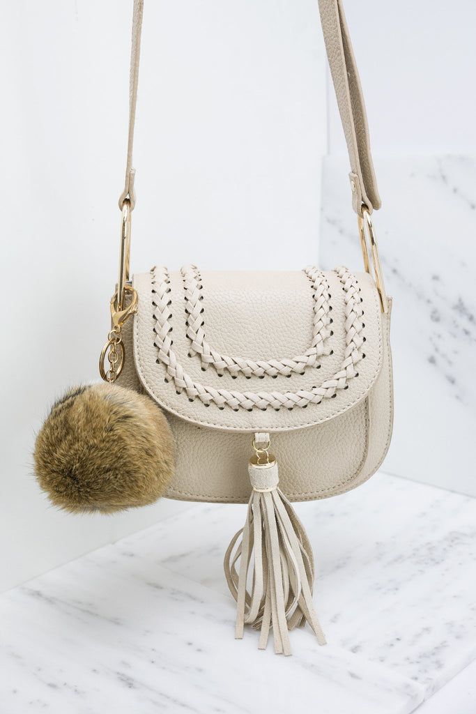 Fur Pom-Pom Key Chain - Brown