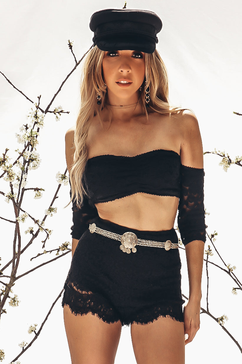 Off-Shoulder Lace Crop Tube Top
