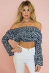 Blue Flower Off The Shoulder Top /// ONLY 1-S LEFT/// - Haute & Rebellious