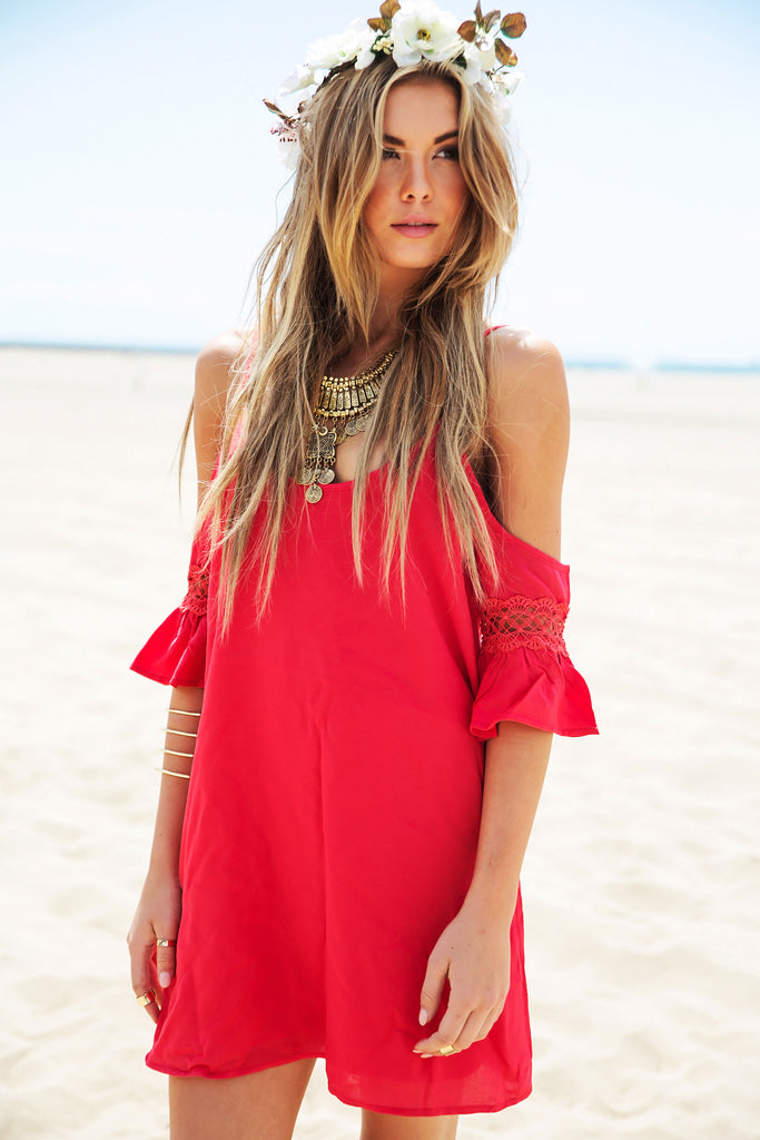 Rayla Off-Shoulder Dress - Red