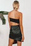 Vegan Leather Skirt with Asymmetric Hem - Black