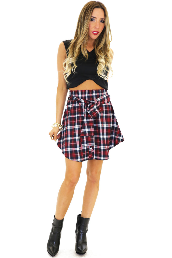 RENSON PLAID FLARE SKIRT