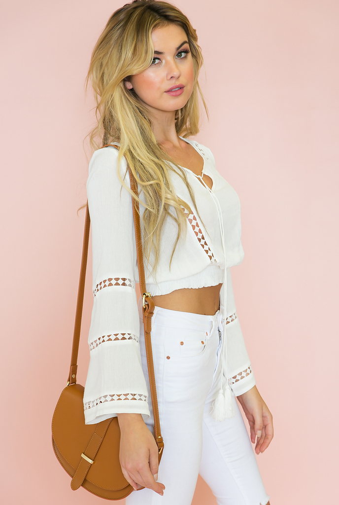 Lani Bell Sleeves Crop Top
