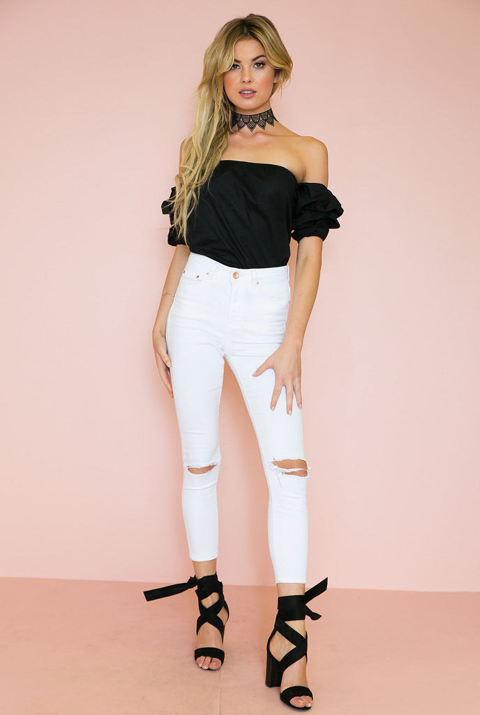 Fiesta Queen Off-Shoulder Top - Black