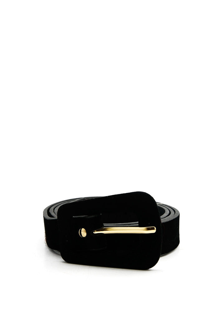 Krista Thin Suede Belt - Black