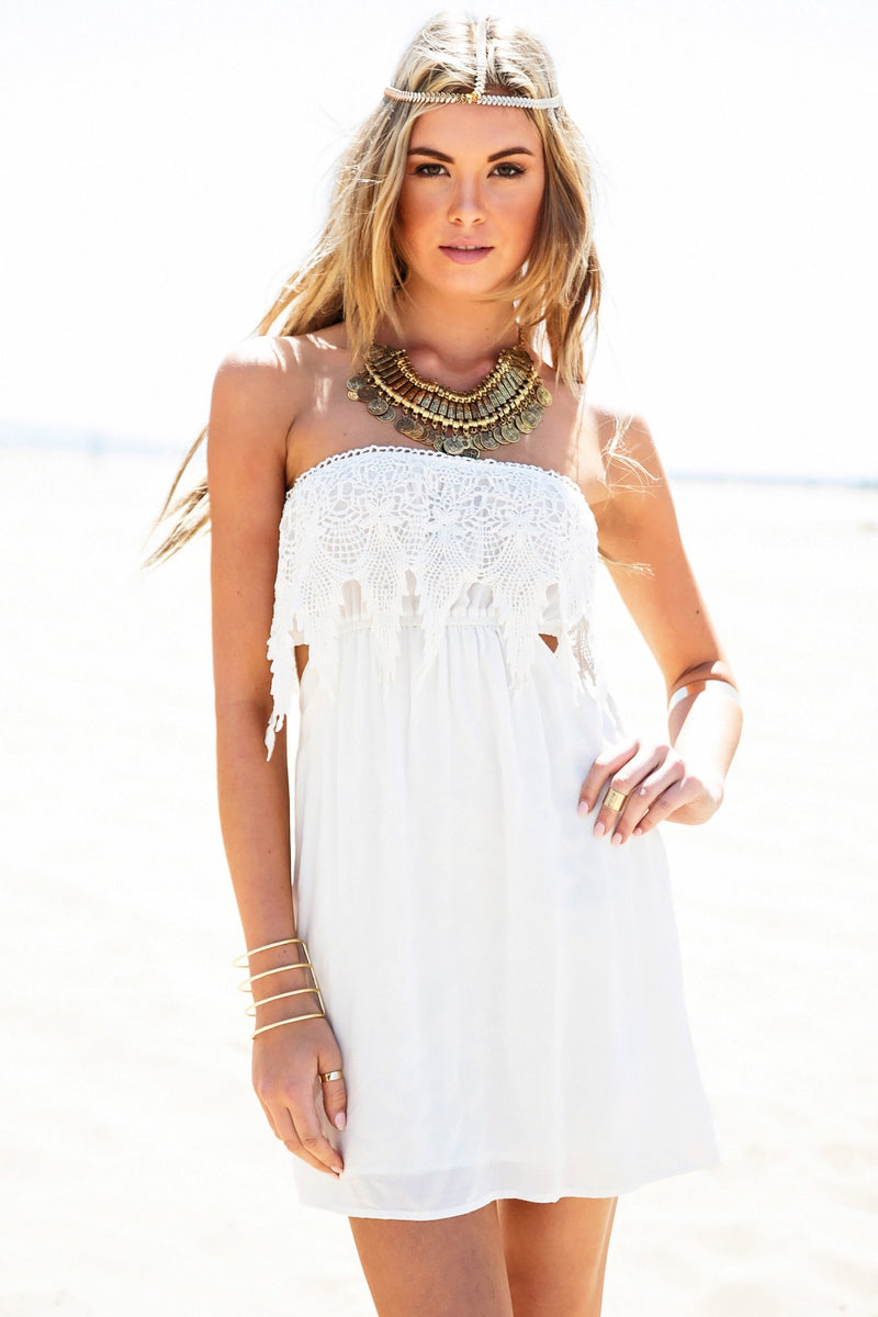 Erina Lace Detail Sun Dress - White - Haute & Rebellious