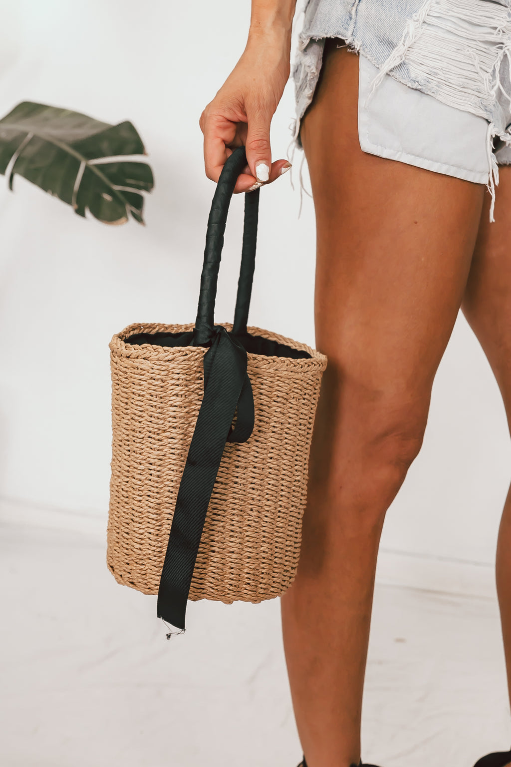 Round Straw Basket Bag2