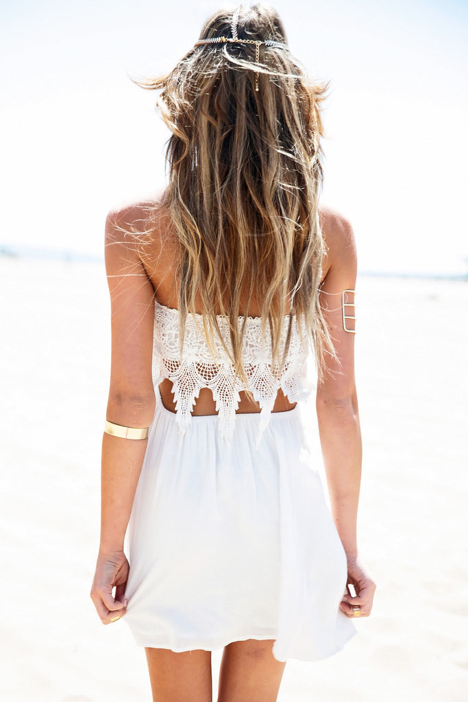 Erina Lace Detail Sun Dress - White