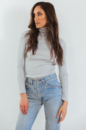 Ribbed Turtleneck Top - Grey