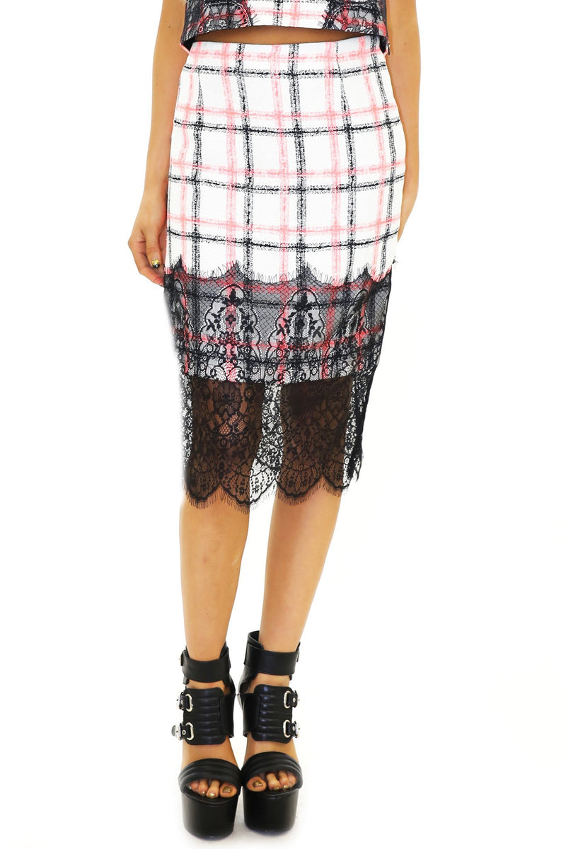 ASHLAND LACE DETAIL PLAID SKIRT - Haute & Rebellious