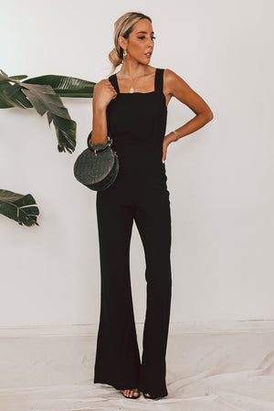 Woven Overall Jumpsuit with Tie Back Detail
