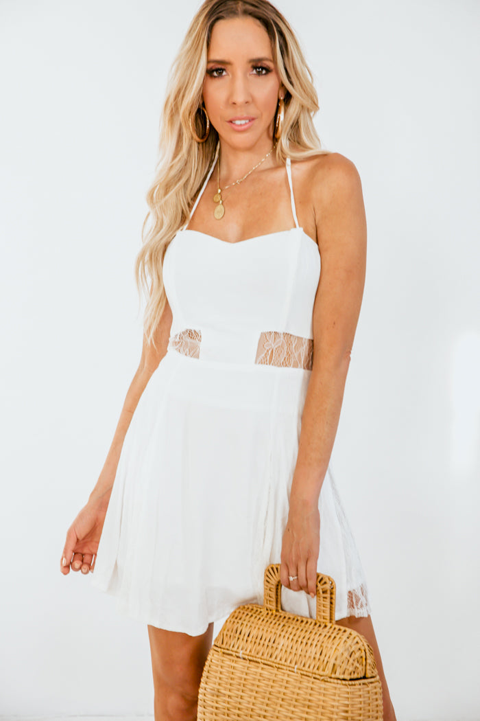 Mini Dress with Lace Detail