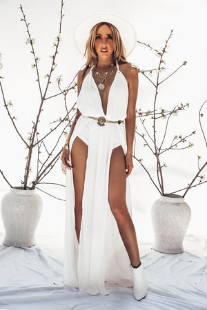 High-Slit Maxi Dress with Bodysuit