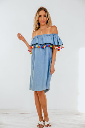 Off-Shoulder Ruffle Dress with Pom-Poms /// Only 1-M Left ///