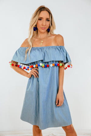 Off-Shoulder Ruffle Dress with Pom-Poms