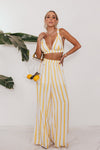 Yellow Stripe Crop Top & Pant Set