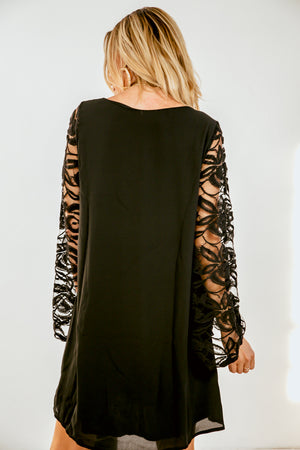 Lace Bell-Sleeve Mini Dress - Black