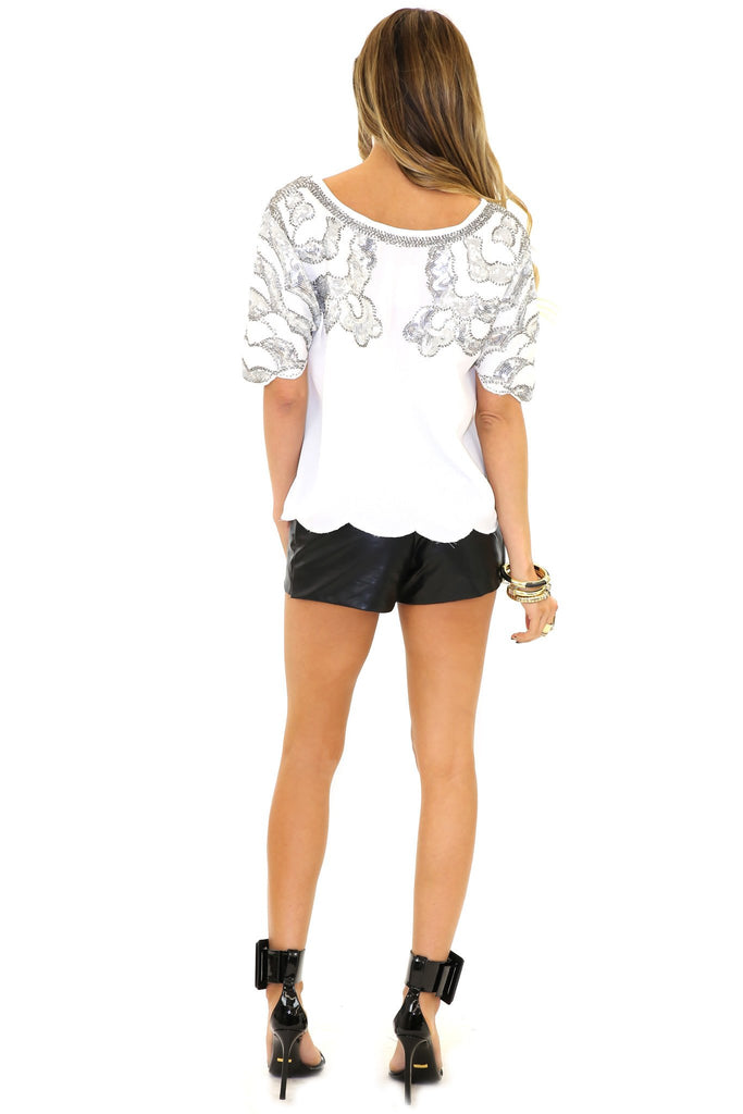 HESTER SEQUIN SHOULDER TOP - White