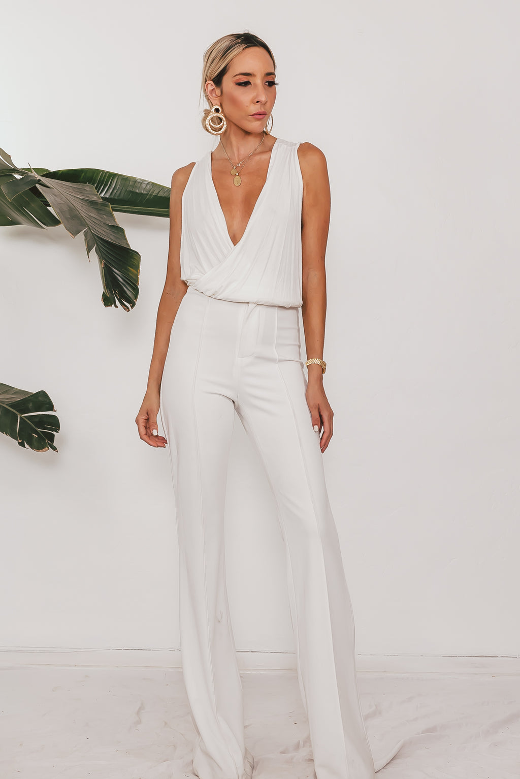 High Waist Crepe Trousers - White