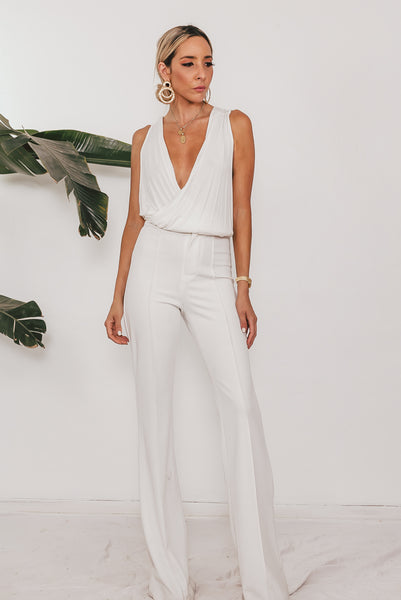 High Waist Crepe Trousers - White /// Only 1-M Left ///