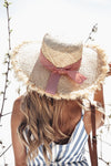 Straw Hat with Gingham Band