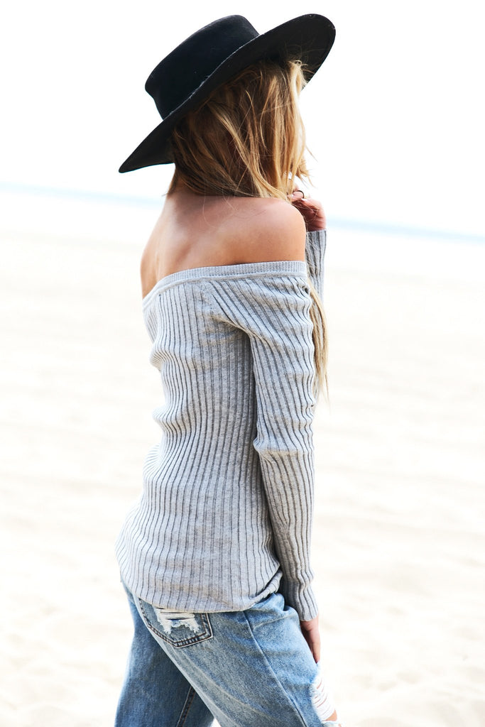 Emma Ribbed Off-Shoulder Tee - Heather Grey