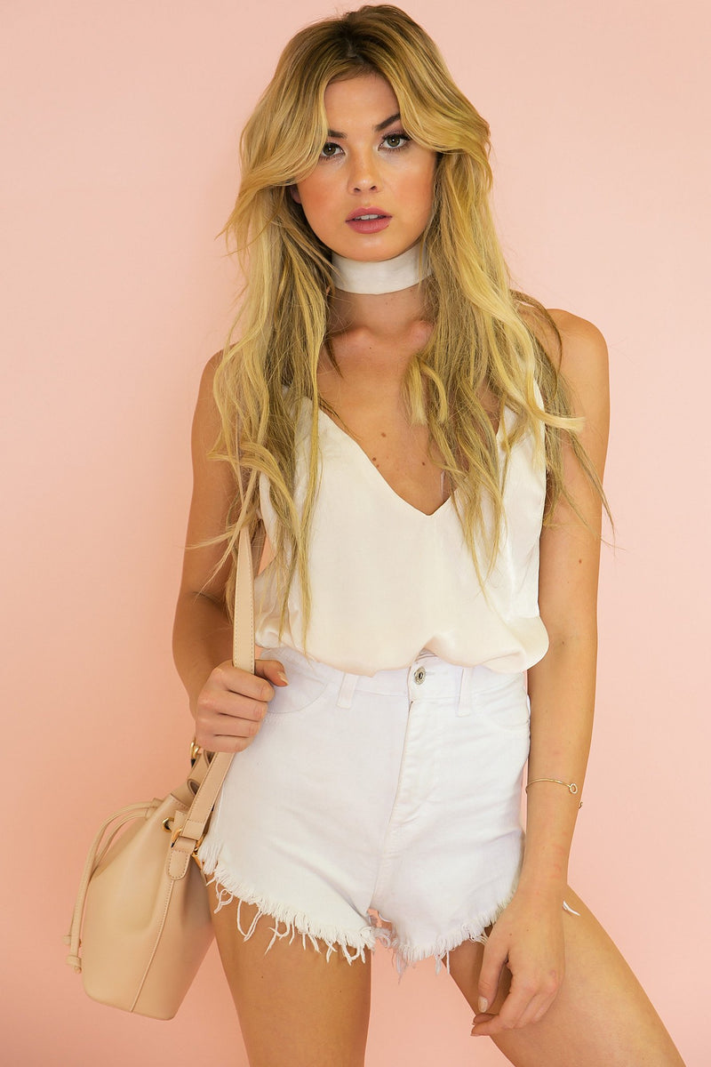 Emma Satin Cami Top - Light Blush - Haute & Rebellious