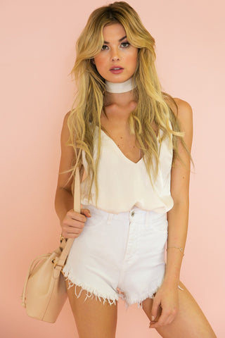 LACE CROPPED TOP - Cream (Final Sale)