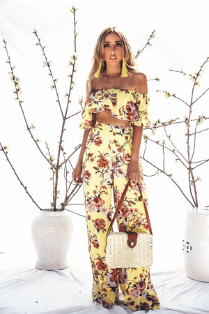 Floral Palazzo Pant with Off-Shoulder Top Set