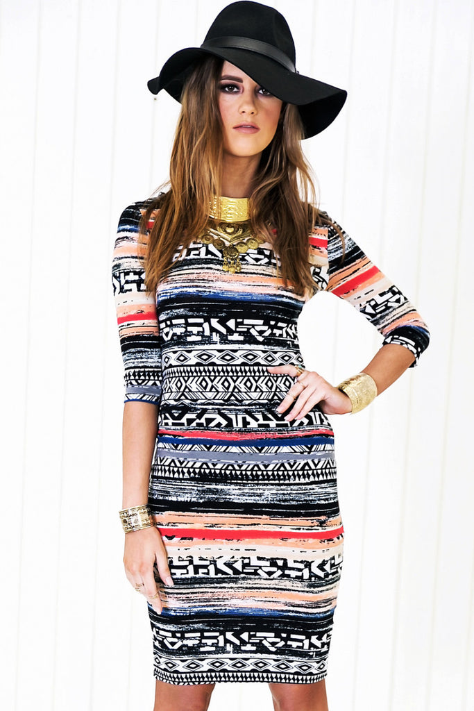 Zenia Aztec Print Midi Dress