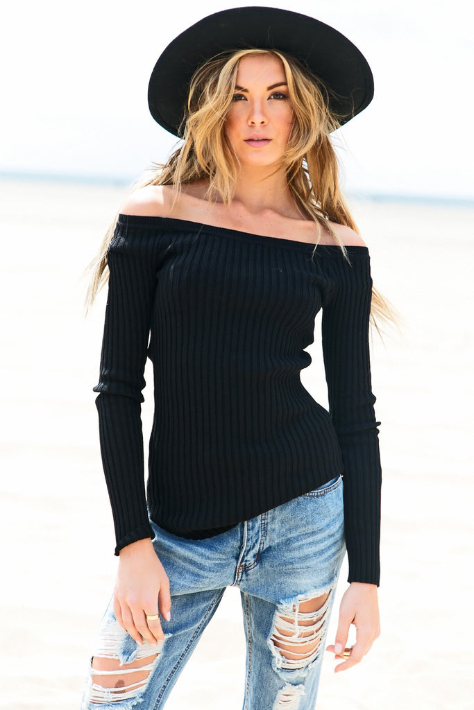 Emma Ribbed Off-Shoulder Tee - Black