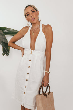 Button-Up Halter Dress