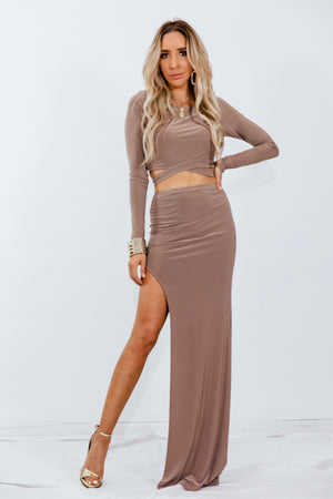 Crop Top & Slit Skirt Set - Taupe