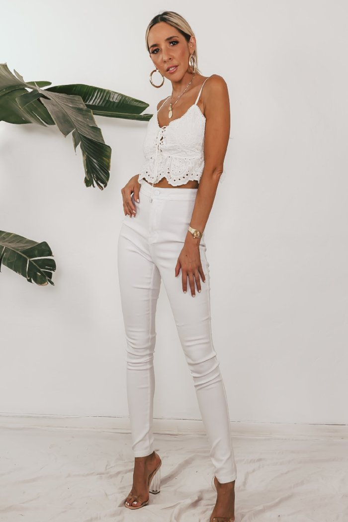 Fitted Stretch Denim Pants - White