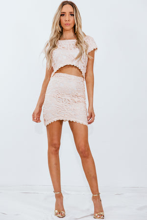 Lace Top & Skirt Set - Peach