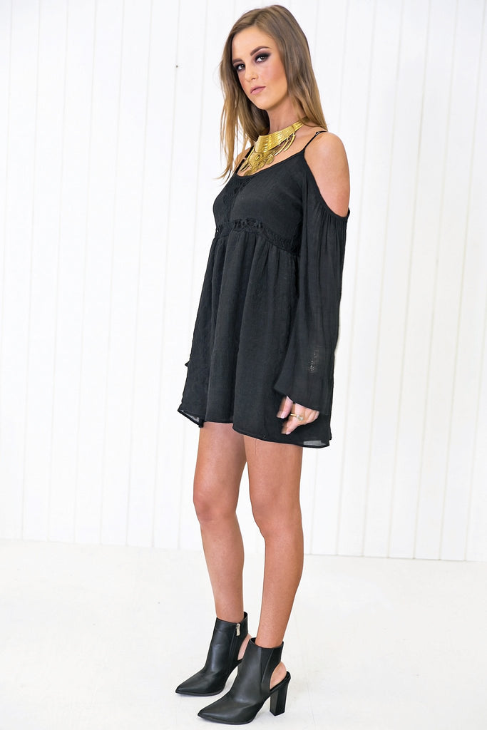 Feather Bell-Sleeve Sun Dress - Black