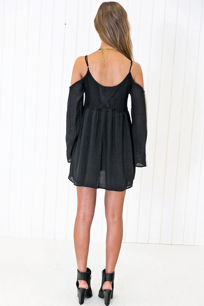 Feather Bell-Sleeve Sun Dress - Black - Haute & Rebellious