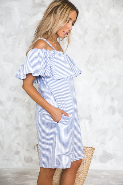 Summer Vacay Striped Ruffle Dress