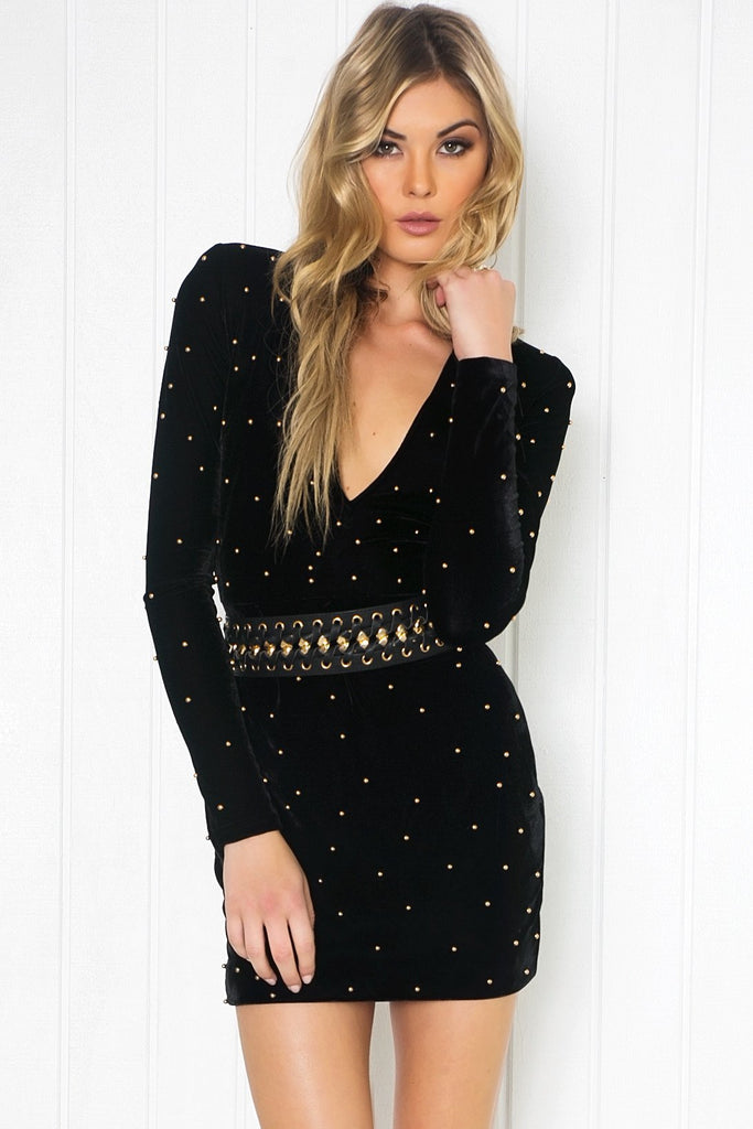 Aislin Velvet Studded Dress